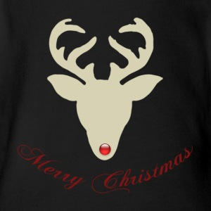 Reindeer-silhouette-red-nose.png Baby Bodysuits - Short Sleeve Baby Bodysuit