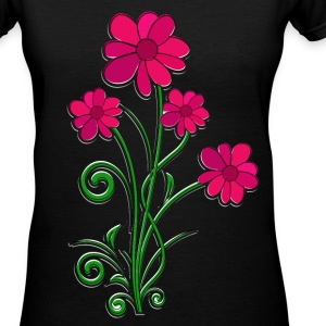 Red Flowers Four T-Shirts - Women's V-Neck T-Shirt