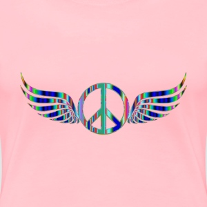 Gold Peace Sign Wings Psychedelic 2 No Background - Women's Premium T-Shirt