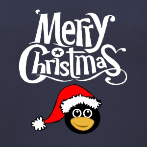 Merry Christmas Snowflake font Santa Penguin Graph T-Shirts - Women's V-Neck T-Shirt