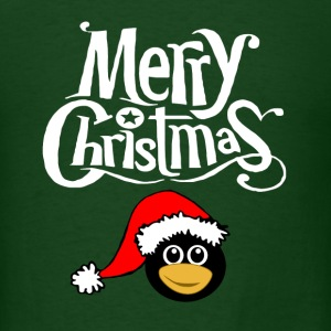 Merry Christmas Snowflake font Santa Penguin Graph T-Shirts - Men's T-Shirt