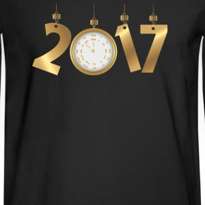 2017 Happy New Years Gold Countdown to Midnight Long Sleeve Shirts - Men's Long Sleeve T-Shirt