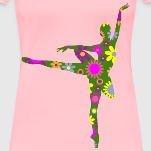 Retro Floral Braided Hair Ballerina - Women's Premium T-Shirt