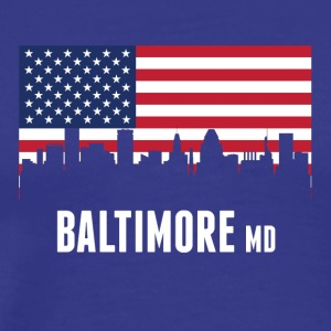 American Flag Baltimore Skyline - Men's Premium T-Shirt