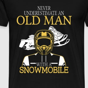Snowmobile - An old man with a snowmobile - Men's Premium T-Shirt