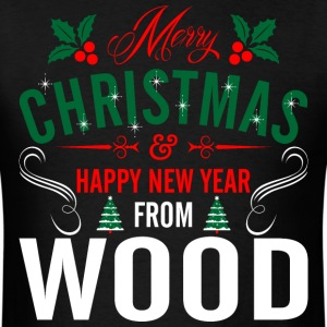 mery_christmas_happy_new_year_from_wood T-Shirts - Men's T-Shirt