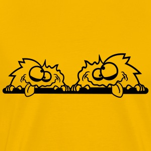 2 friends teamcream cheated hairy monster cuddly c T-Shirts - Men's Premium T-Shirt