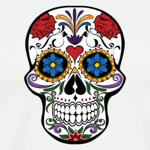 Red Roses and Heart Cranium Tattoo Art - Men's Premium T-Shirt