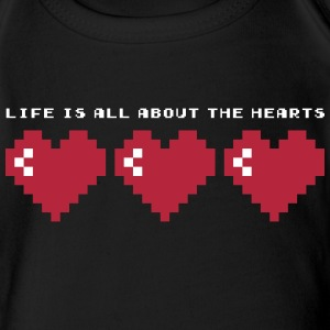 LIFE IS ALL ABOUT THE HEARTS - SO IS X-MAS Baby Bodysuits - Short Sleeve Baby Bodysuit
