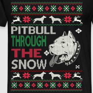 Pitbull through the snow - Christmas sweater - Men's Premium T-Shirt