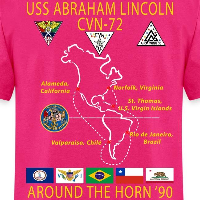 USS ABRAHAM LINCOLN CVN-72 AROUND THE HORN 1990 CRUISE SHIRT