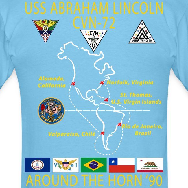 USS ABRAHAM LINCOLN CVN-72 AROUND THE HORN 1990 CRUISE SHIRT
