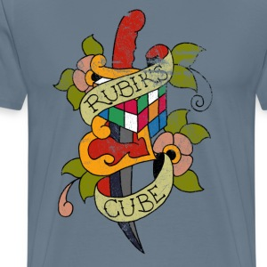 Rubik's Cube Colorful Tattoo Distressed - Men's Premium T-Shirt