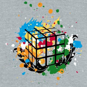 Rubik's Cube Colourful Splatters - Unisex Tri-Blend T-Shirt by American Apparel