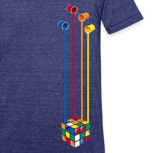 Rubik's Cube Colourful Paint Buckets - Unisex Tri-Blend T-Shirt by American Apparel