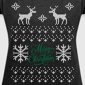 Merry Christmas Ugly Sweater T-Shirts - Women´s Roll Cuff T-Shirt