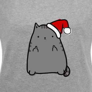 Christmas Kitty Tshirt - Women´s Rolled Sleeve Boxy T-Shirt