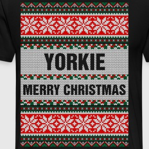 Yorkie Merry Christmas Ugly Sweater T-Shirts - Men's Premium T-Shirt