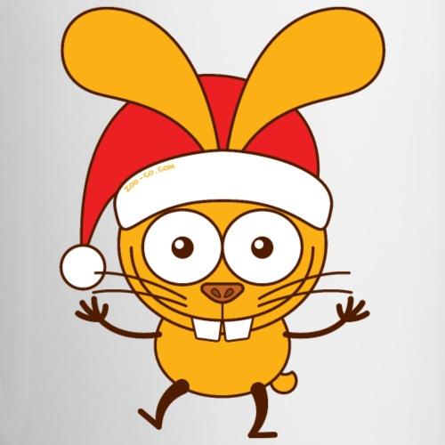 Christmas bunny wearing Santa hat