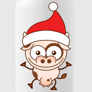Christmas cow wearing Santa hat Sportswear - Water Bottle