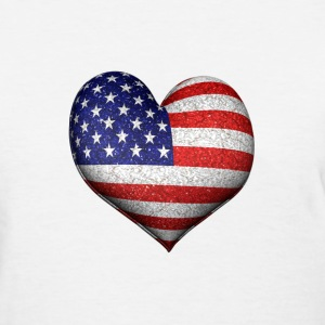 Usa Flag 3d Heart - Women's T-Shirt