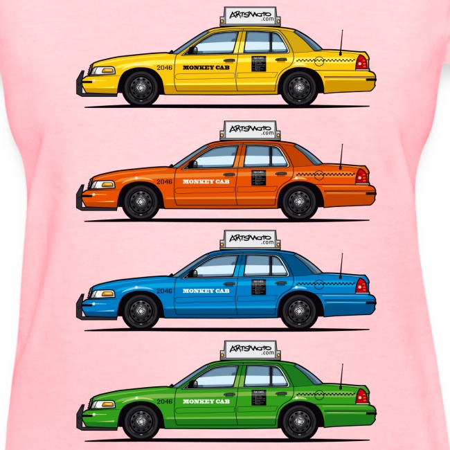 4 Color Cabs - Crown Victoria Taxi Yellow, Red, Blue, and Green | Women's  T-Shirt