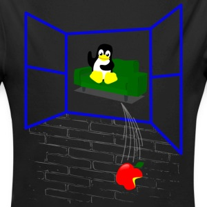 Linux penguin Throws an Apple out the Window Baby Bodysuits - Long Sleeve Baby Bodysuit