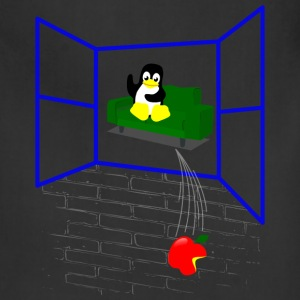 Linux penguin Throws an Apple out the Window Aprons - Adjustable Apron