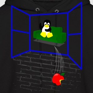 Linux penguin Throws an Apple out the Window Hoodies - Men's Hoodie
