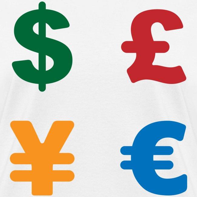 Dimkadnb Dollar Pound Yen Euro Colorful Currency Symbol Womens