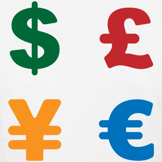 Dollar Pound Yen Euro Colorful Currency Symbol