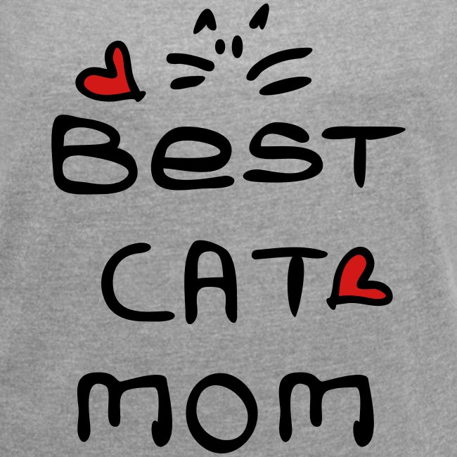 Best cat mom Women´s Rolled Sleeve Boxy T-Shirt