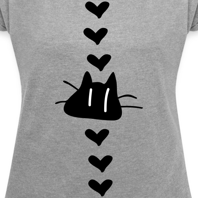 Love Love Cat Women´s Rolled Sleeve Boxy T-Shirt