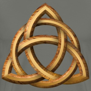 Celtic Triquetra - Wood and Gold - Men's Premium T-Shirt
