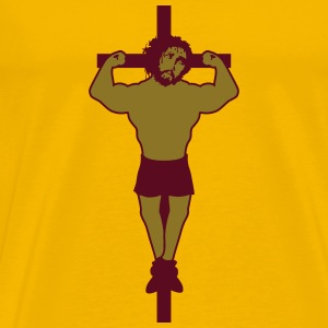 Cross body strong muskeln bodybuilder jesus thorns T-Shirts - Men's Premium T-Shirt
