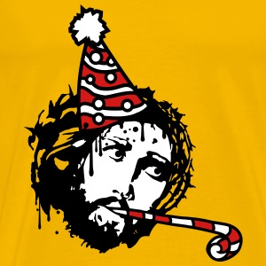 Happy birthday birthday celebrate party hat jesus  T-Shirts - Men's Premium T-Shirt