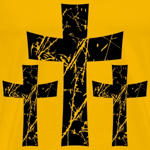 3 crosses pattern tears scratch old text jesus chr T-Shirts - Men's Premium T-Shirt