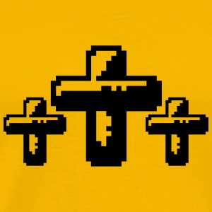 3 crosses cool pixel gamer retro 8 bit pattern chr T-Shirts - Men's Premium T-Shirt