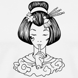 Japanese_geisha_finger_sign_black - Men's Premium T-Shirt