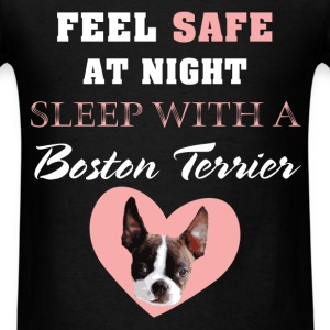 Boston terrier - Feel safe at night sleep with a B - Men's T-Shirt