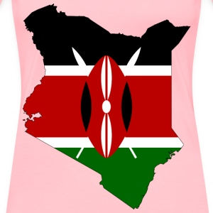 Kenya Flag Map With Stroke - Women's Premium T-Shirt