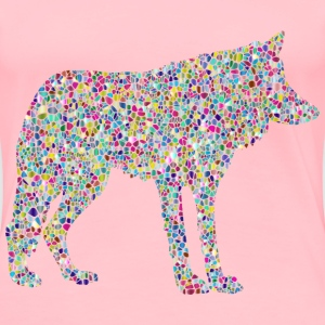 Polyprismatic Tiled Wolf Silhouette 2 - Women's Premium T-Shirt