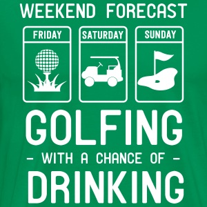 Weekend forecast. Golfing and Drinking T-Shirts - Men's Premium T-Shirt