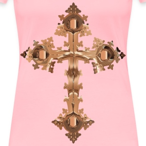 Polished Copper Ornate Cross No Background - Women's Premium T-Shirt