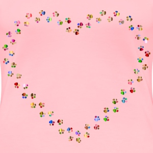 Colorful Paw Prints Heart Mark II 5 - Women's Premium T-Shirt