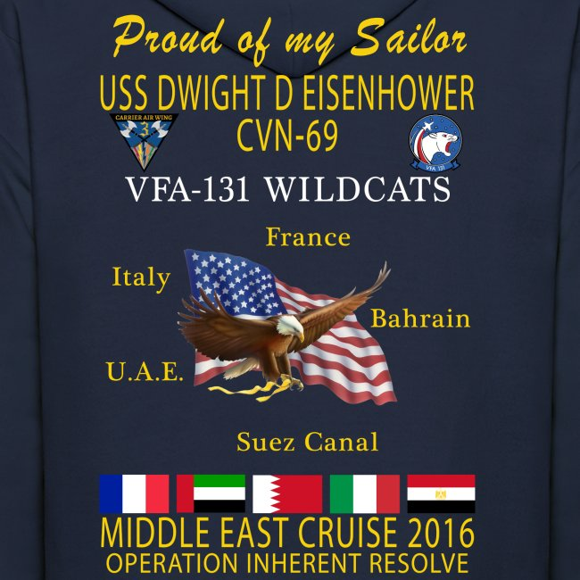IKE AIRWING - VFA-131 WILDCATS 2016 CRUISE HOODIE (50/50) - FAMILY