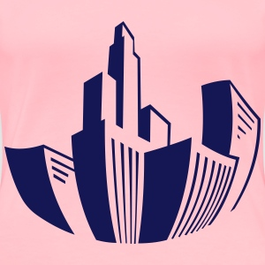 Distorted Buildings Icon Blue - Women's Premium T-Shirt
