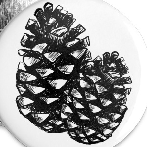 Two pine cones Buttons - Small Buttons