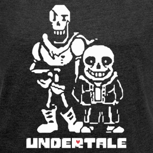 sans undertale white - Women´s Roll Cuff T-Shirt