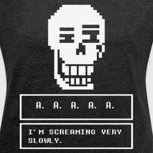undertale skull - Women´s Roll Cuff T-Shirt